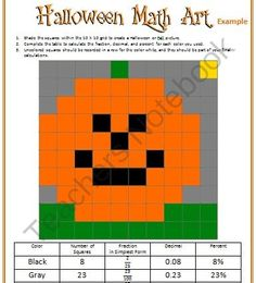 Halloween Math Art from Mathematic Fanatic on TeachersNotebook.com -  (5 pages)  - Halloween Math Art - Create Halloween or Fall artwork with a 10 x 10 grid. Record the number of squares for each color, and calculate the fraction, decimal, and percent.