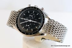 We restored this #vintage 1974 #Omega #Speedmaster First Walk on the Moon Edition for a client with an added 54gram Shark Bracelet.