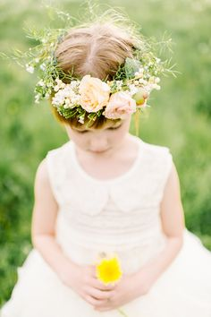 flower girl halo, photo by L. Hewitt Photography http://ruffledblog.com/19th-century-stone-house-inspiration #flowercrown #floralwreath #flowergirl