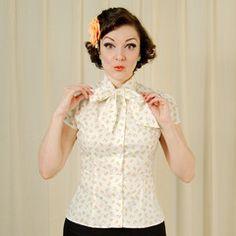 1940s and 1950s Heart of Haute White Cherries Estelle Blouse