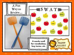 SWAT- A fun idea for review games, vocabulary practice, trivia, etc. You just need fly swatters for the teams and a sheet or board with the answer choices...Lots of fun! Post includes two summer freebies!