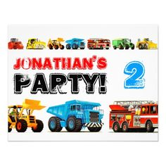 Big Trucks 2nd Birthday Party Custom Invitations from TruckStore  #trucks #truckstore #2ndbirthday