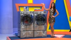 SAVE 20 MINUTES ON LARGER LOADS WITH THE TURBOWASH TECHNOLOGY ON THIS ULTRA-LARGE CAPACITY WASHER. AND, THE TRUESTEAM FEATURE ON THIS DRYER PRACTICALLY ELIMINATES THE NEED FOR IRONING. #PriceIsRight #Laundry #Clean #WasherDryer #Pedestals