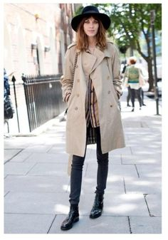 fashion, chelsea boots, outfit, street styles, alexachung, trench coats, alexa chung, haute couture, hat