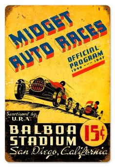 Midget Auto Races Tin Sign