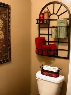 towel organization bathroom storage, bathrooms decor, small bathrooms, bathroom organization, bathroom ideas, storage design, pot rack, storage ideas, guest bathrooms