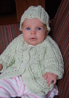 Shell Stitch Crochet Child's Cardigan & Hat Bunny Hop  - baby or toddler -   free crochet pattern for baby sweater -  Crystal Palace Yarns
