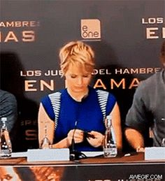Jennifer Lawrence spilling mints (gif) I love how she like takes it under the table like nothing happened here then Liam looks and you can just see how is going to go really really