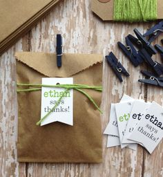 Birthday boy party favors  could wrap with gold cord