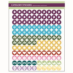 """NEW Logo Category Stickers! Category Stickers are now more fun and easier than ever before. Featuring the new category icons, keeping your mini testers together is now a snap! This 8.5"""" x 11"""" sheet is filled with colorful round stickers (3/8"""" each). One sheet per order"""