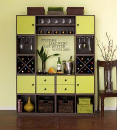 Cheers to That  Keep glasses, wine, and other entertaining supplies at hand with a beverage bureau. Nine modular units from Gothic Cabinet Craft ($911 unfinished and unassembled) come together to create a one-of-a-kind entertaining station.  www.gothiccabinetcraft.com