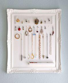 Framed jewelry organizer.