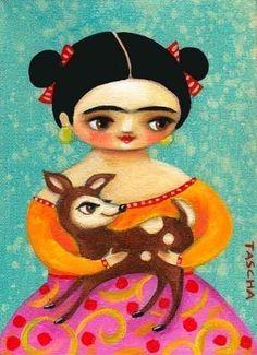 Frida Kahlo and The Little Deer by Tascha