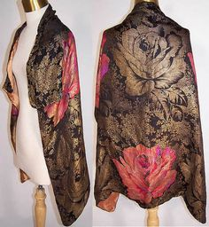 1920s Vintage Art Deco Floral Roses Pink Gold Lamé Silk Scarf Shawl Cloak Cape | eBay