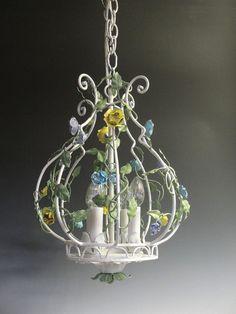 Vintage Tole Chandelier/Antique Lighting/Vintage by lightlady, $325.00