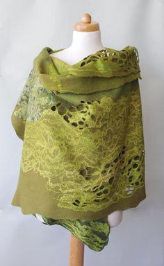 Handmade nuno felting shawl  Hand felted wool and by AudraSfelting