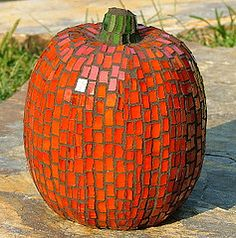 Mosaic Pumpkin~ What a great idea!
