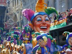 bucket list, new orleans, tradit mardi, float post, gras jester, jester float, post card, place, mardi gras