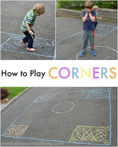 how to play Corners - an outdoor game to get your kids moving and practice colors, letters, numbers, and shapes