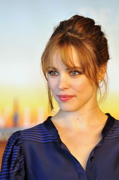 Rachel McAdams updo hairstyle with bangs