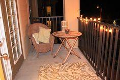 Apartment porch decor with a DIY stick candle!