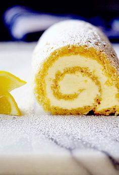 Lemon Roulade with Honey Mascarpone Buttercream | in sock monkey slippers