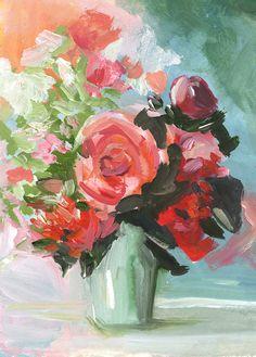 Abstract Floral -Peach, aqua, rose -  Abstract painting -print of original via Etsy