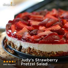"""This three-layer salad includes a pretzel crust, cream cheese center, and strawberry top."" — Tom Quinlin 