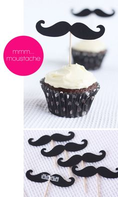 mustache party, diy kits, father day, wedding cupcakes, white weddings, unique weddings, moustache party, cupcake toppers, baby showers