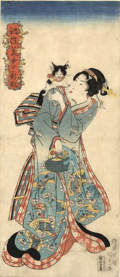 Standing bijin (and her Japanese BobTail cat) | woodcut print, late 1830s | Utagawa Kunisada