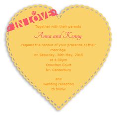 Heart Shape Online Wedding Invitation. Not really crazy but fun. heart shape