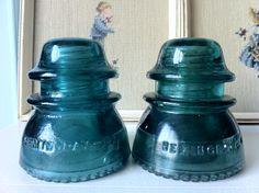 Turquoise Hemingray glass insulators