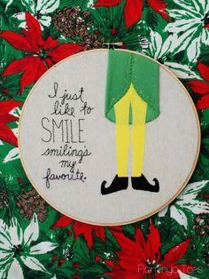 Smiling's My Favorite - Christmas Embroidery Hoop art  - Elf