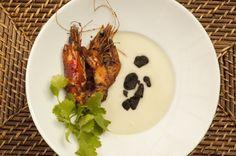 Roasted Polano Soup, Coriander Shrip and Huitlacoche
