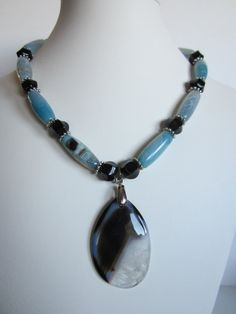 Blue Agate Necklace with black glass beads SUmmer by yasmi65, $32.00