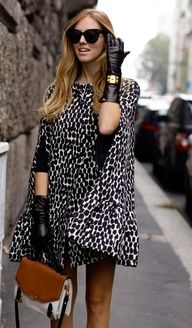 autumn outfits, fashion clothes, cape, street style, gloves, animal prints, leather, leopard, coat