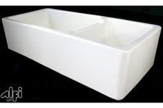 ALFI brand AB4019 XL Double Bowl Fireclay Apron Front Farm Kitchen Sink at bluebath.com