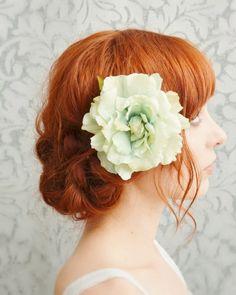 Rose hair clip, mint green hair accessory, bridal head piece, wedding accessory - Eloise $33