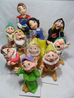 modelado, cake tutori, clay cartoon, fondant figur, figurin, craft ideas, biscuits, cake topper, snow white