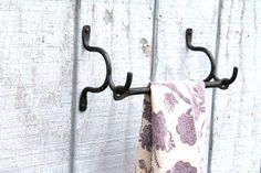 Hand Forged Iron 3 Piece Towel Holder With Drifted Bar by VinTin, $52.00
