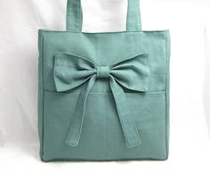 Green cotton canvas tote bag shoulder bag - zippered inside pocket, butterfly bowknot $23