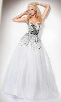 sequin white ball gown....<3
