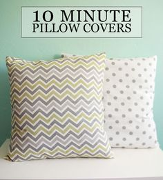 10 Minute Pillow Covers #diy #sewing