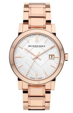 large check stamped bracelet watch / burberry