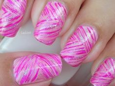 Nail Art - October in Pink: Pink Ribbons - Decoración de uñas - Breast Cancer Awareness Month check out www.ThePolishObsessed.com for more nail art ideas.
