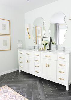 Tracey Ayton Photography - bathrooms - Ruhlmann Sconce, gray herringbone floor, gray herringbone tiles, herringbone tiles, wood grain floor,...