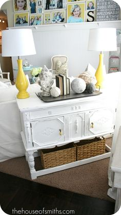 Repurposed sofa tables, interior, living rooms, table makeover, decorating blogs, table redo, hous, yellow lamp, console tables