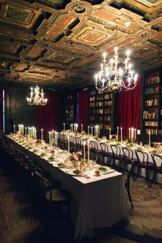 Long reception tables in Alder Manor Library // Jonathan Young Weddings // http://www.theknot.com/submit-your-wedding/photo/7440c38c-da8f-4aaa-9d07-673fe80a7770/LandJ-Hudson-Valley-Wedding