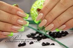 Neon green nail art design