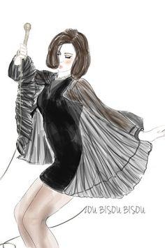 Megan Draper zou bisou dress illustration